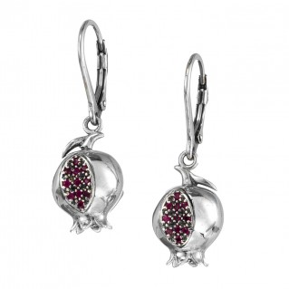 Gerochristo 1658N ~ Sterling Silver and Zircon - Pomegranate Drop Earrings