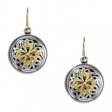 Gerochristo 1119N ~ Solid Gold & Silver Medieval-Byzantine Drop Earrings