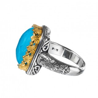 Gerochristo P20025N ~ Sterling Silver Medieval-Byzantine Doublet Cocktail Ring