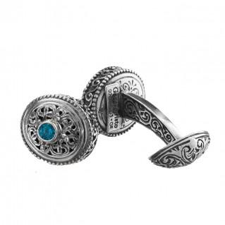Gerochristo 7044N ~ Sterling Silver &Z ircon Medieval-Byzantine Filigree Cufflinks
