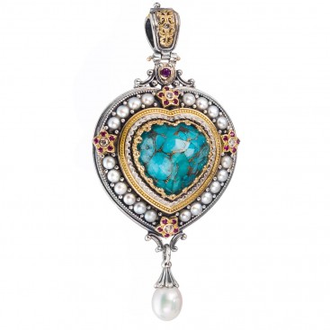 Gerochristo 3281N ~ Solid Gold & Sterling Silver Medieval Multi-Stone Imperial Heart Pendant