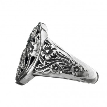 Gerochristo 2944N ~ Sterling Silver Medieval Floral Ring