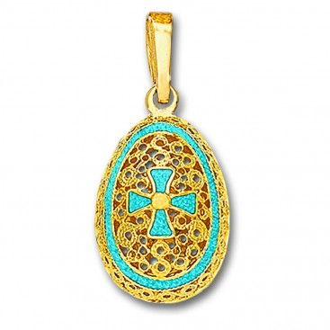 Egg Pendant with Cross ~ 14K Solid Gold and Hot Enamel ~ C/Large