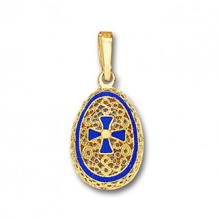 Egg Pendant with Cross ~ 14K Solid Gold and Hot Enamel ~ C/Medium
