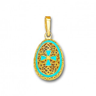 Egg Pendant with Cross ~ 14K Solid Gold and Hot Enamel ~ C/Small