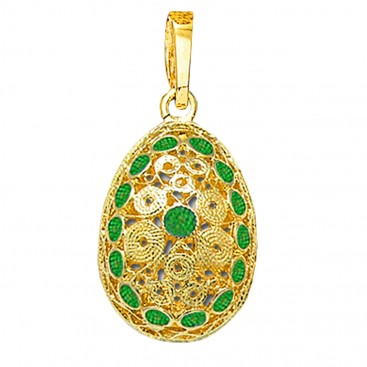 Ornate Filigree Egg Pendant ~ 14K Solid Gold and Hot Enamel ~ A/Large