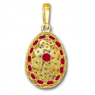 Ornate Filigree Egg Pendant ~ 14K Solid Gold and Hot Enamel ~ A/Large