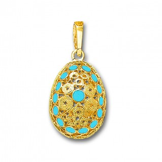 Ornate Filigree Egg Pendant ~ 14K Solid Gold and Hot Enamel ~ A/Medium