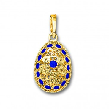 Ornate Filigree Egg Pendant ~ 14K Solid Gold and Hot Enamel ~ A/Medium