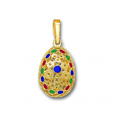 Ornate Filigree Egg Pendant ~ 14K Solid Gold and Hot Enamel ~ A/Small