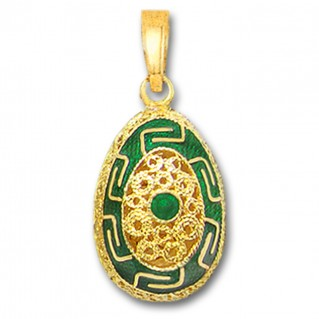 Meander Filigree Egg Pendant ~ 14K Solid Gold and Hot Enamel - A/Large
