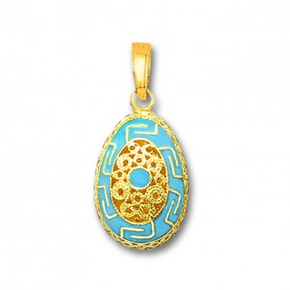 Meander Filigree Egg Pendant ~ 14K Solid Gold and Hot Enamel - A/Medium