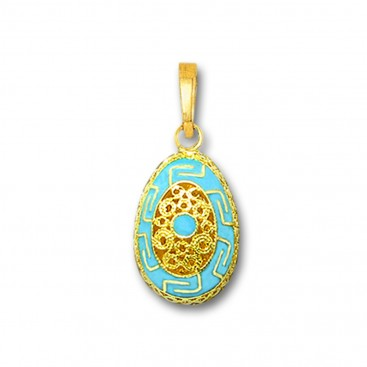 Meander Filigree Egg Pendant ~ 14K Solid Gold and Hot Enamel - A/Small