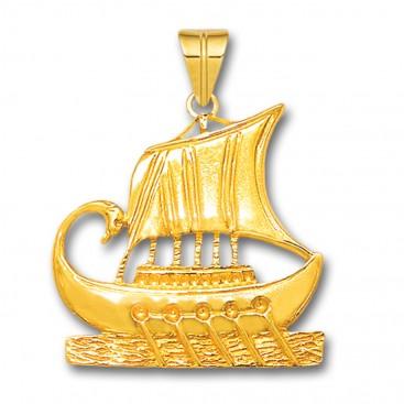 Trireme - Ancient Greek Ship ~ 14K Solid Gold Pendant - L