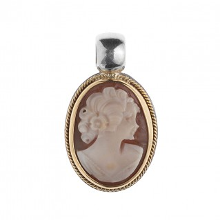 Savati 254 - 22K Solid Gold & Sterling Silver Cameo Pendant