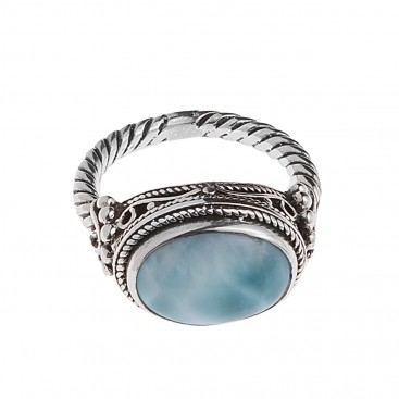 Savati 249 - Sterling Silver & Larimar Byzantine Cocktail Ring