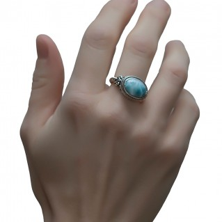 Savati 249 - Sterling Silver & Larimar Byzantine Cocktail Ring