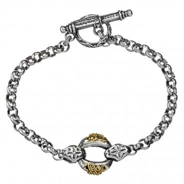 Gerochristo 6174N ~ Solid Gold & Sterling Silver Medieval-Byzantine Link Bracelet