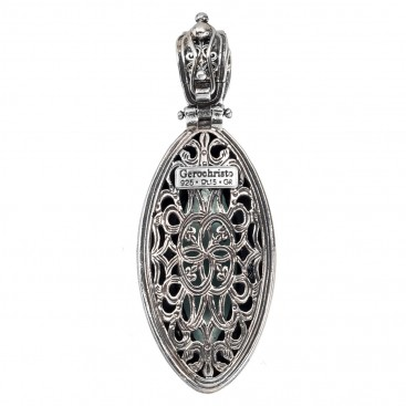 Gerochristo P3312N ~ Sterling Silver Medieval-Byzantine Large Pendant with Doublet Stone
