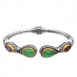 Gerochristo P6375N ~ Sterling Silver Multi-Stones Medieval Cuff Bracelet