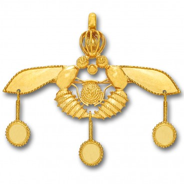 Minoan Cretan Malia Bees ~ 14K Solid Yellow Gold Pendant-Brooch - XXL