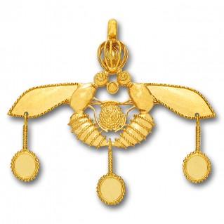Minoan Cretan Malia Bees ~ 14K Solid Yellow Gold Pendant-Brooch - XL