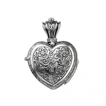 Gerochristo 3219N ~ Sterling Silver Engraved Heart Locket Pendant
