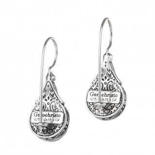 Gerochristo P1691N ~ Sterling Silver Medieval Drop Earrings with Doublet Stones