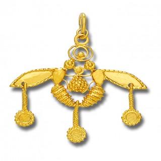 Minoan Cretan Malia Bees ~ 14K Solid Yellow Gold Pendant - L