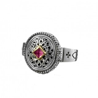 Gerochristo 2305N ~ Solid Gold & Sterling Silver Medieval-Byzantine Ring
