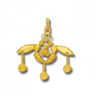 Minoan Cretan Malia Bees ~ 14K Solid Yellow Gold Pendant - M/B