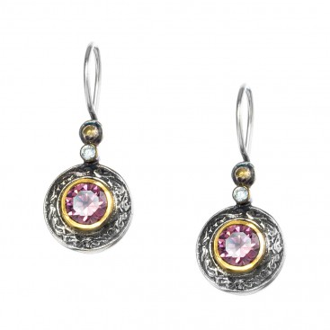 Gerochristo P1281N ~ Sterling Silver & Zircon Medieval-Byzantine Drop Earrings