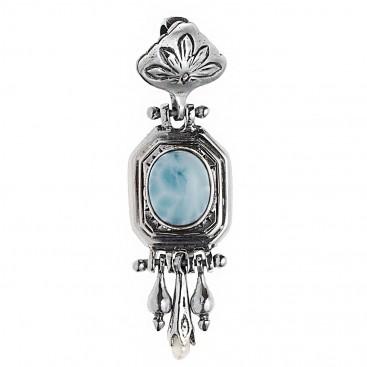Savati 243 - Sterling Silver and Gemstones Byzantine Long Pendant