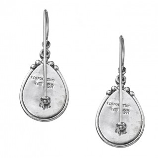 Gerochristo 1366N ~ Sterling Silver & Stones Medieval-Byzantine Drop Earrings