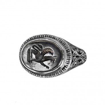 Gerochristo 2560N ~ Sterling Silver and Bronze Griffin Signet Ring