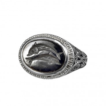 Gerochristo 2557N ~ Sterling Silver and Bronze Dolphins Signet Ring