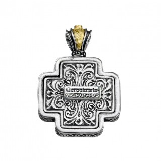 Gerochristo 5451N ~ Solid Gold & Sterling Silver Filigree Floral Cross Pendant