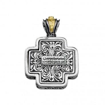 Gerochristo 5451N ~ Solid Gold & Sterling Silver Filigree Floral Cross Pendant