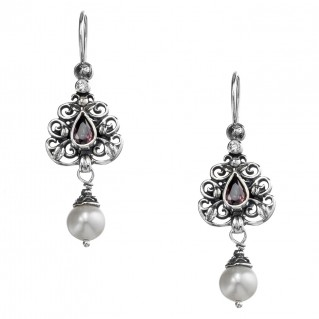 Gerochristo 1483N ~ Sterling Silver & Stones - Medieval Dangle Earrings