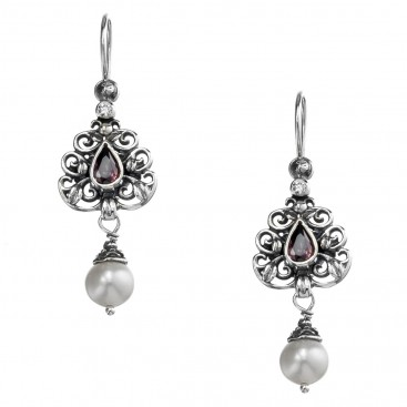 Gerochristo 1483N ~ Sterling Silver & Stones - Medieval Dangle Earrings