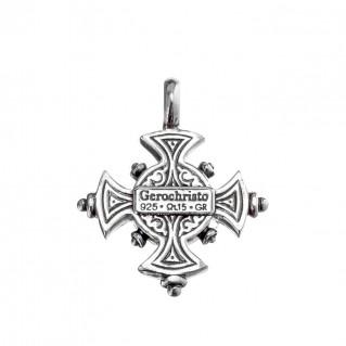 Gerochristo 5080N ~ Sterling Silver Byzantine-Medieval Cross Pendant