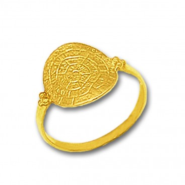 Minoan Phaistos Disk - 14K Solid Gold Ring