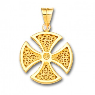 18K Solid Gold Maltese Canterbury Filigree Cross Pendant A/Medium