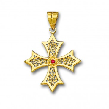 18K Solid Gold Filigree Budded Cross Pendant with Gemstone - B