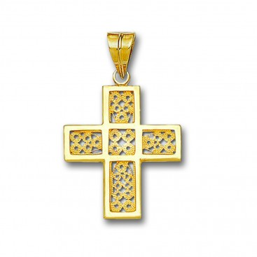 18K Solid Gold Filigree Latin Cross Pendant - A