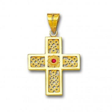 18K Solid Gold Filigree Latin Cross Pendant with Gemstone - A