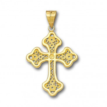 18K Solid Gold Filigree Latin Budded Cross Pendant - A