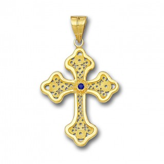 18K Solid Gold Filigree Latin Budded Cross Pendant with Gemstone - A