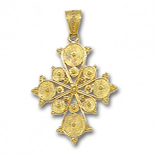 18K Solid Gold Filigree Budded Cross A/Large
