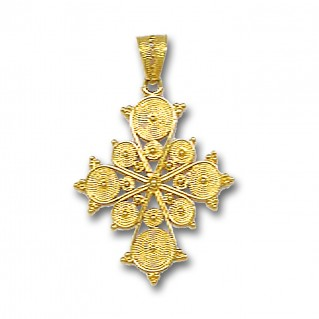 18K Solid Gold Filigree Budded Cross A/Medium